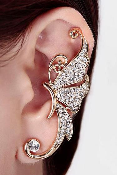 1pc Shiny Womens Butterfly Wings Shape Left Ear Clip Clamp Earrings