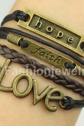 Hope Bracelet Faith Bracelet Love Bracelet-Antique Bronze Bracelet,Leather Charm Bracelet,Friendship Gift Christmas Gift