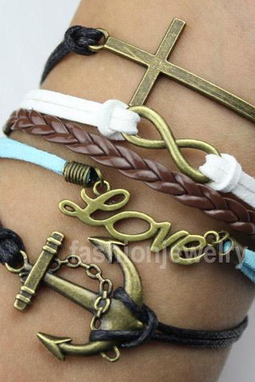 Infinity Bracelet Love Bracelet Anchor Bracelet Cross Bracelet-Multilayer Leather Charm Bracelet Bronze Christmas Gift