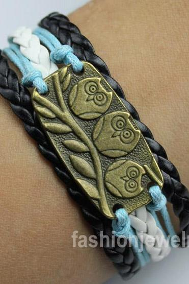 Cute Owl Bracelet,Owl Charm Bracelet-Leather Woven Bracelet,Fashion jewelry bangle Gift
