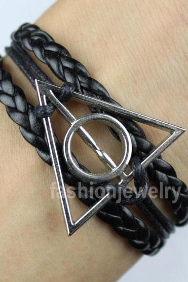 Harry potter bracelet,deathly hallow bracelet-antique silver bracelet,leather ropes charm bracelet,gift for boys or girls