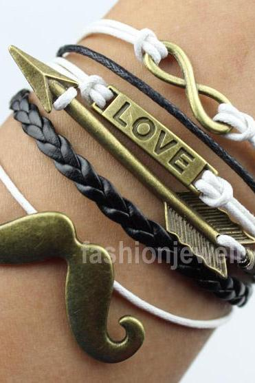 Infinity Bracelet Love Bracelet Arrow Bracelet Mustache Bracelet-Bronze Bracelet Leather Ropes Bracelet,Personalized Jewelry Gift