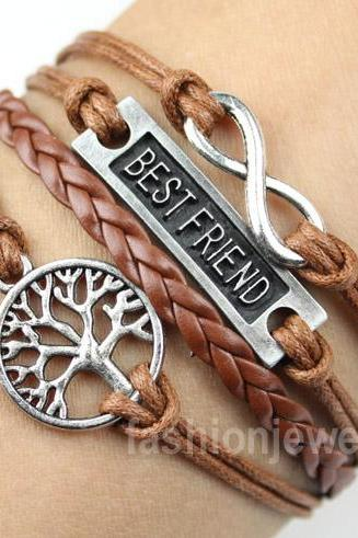 Infinity Bracelet Best Friend Bracelet Tree of Life Bracelet-Vintage Bracelet Brown Leather Charm Bracelet Rope bracelet,Bridesmaid Gift
