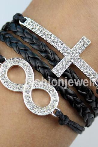 Diamond infinity Bracelet Cross Bracelet-Black Leather Charm Bracelet Cute Bracelet men bangle bracelet women bracelet fashion jewelry gift