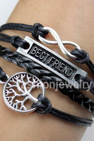 Infinity Bracelet Best Friend Bracelet Tree of Life Bracelet-Black Leather Bracelet Charm Bracelet Girlfriend Gift