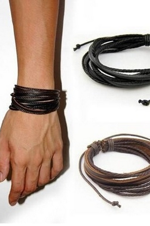 Men's Fashion Casual Bracelet Vintage Leather Accessories Black & Brown Adjustable