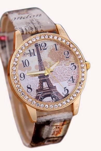 Fashion Eiffel Tower Quartz Vintage Leather Watch Women Ladies Students Retro Wrist Watches