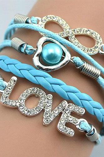 Fashion Womens Jewelry Rhinestone Infinity Love Heart Charm Bracelet
