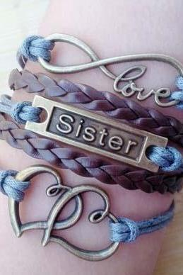 Multicolor love bracelet sister Bracelet mother's day gift double heart bracelet infinity bracelet