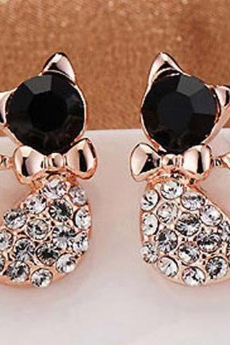 1 Pair New Women Lady Earring Elegant Crystal Rhinestone Ear Stud Earrings
