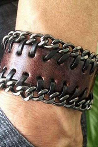 Antique Leather Wristband with Metal Chains Cuff Bracelet women bracelet men bracelet