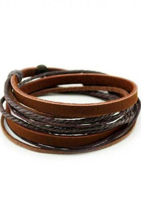 Unisex Brown Genuine Leather Cuff Bracelet Bange Rope Wrap Wristband
