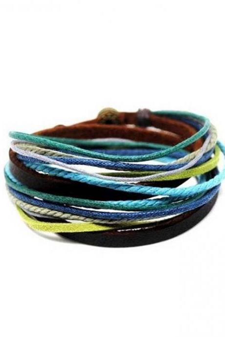 Multicolor Ropes Leather Wrap Cuff Bracelet Adjustable Wristband Jewelry Gift