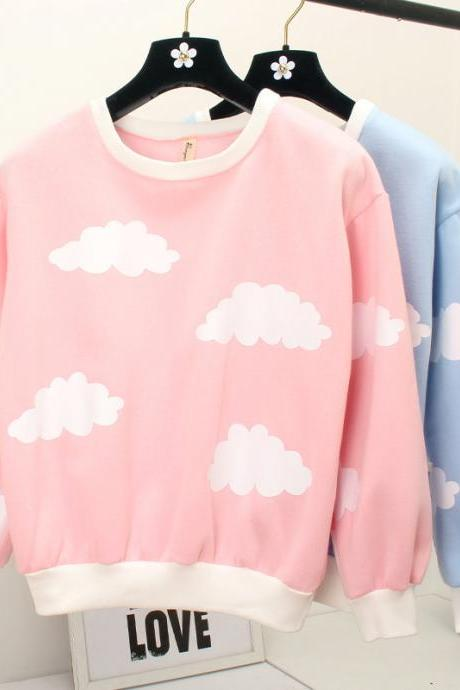 New Winter Clouds Fleece Sweater Pink/Blue