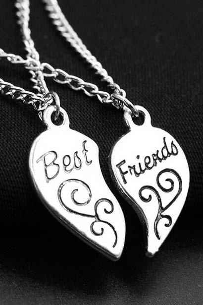 New Fashion Best Friends Necklace Broken Heart 2 Best Friend Jewelry Gift
