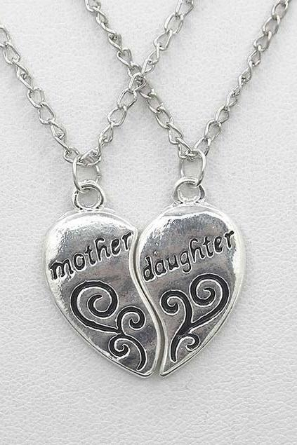 2pcs/Set Mother Daughter Charm Necklace