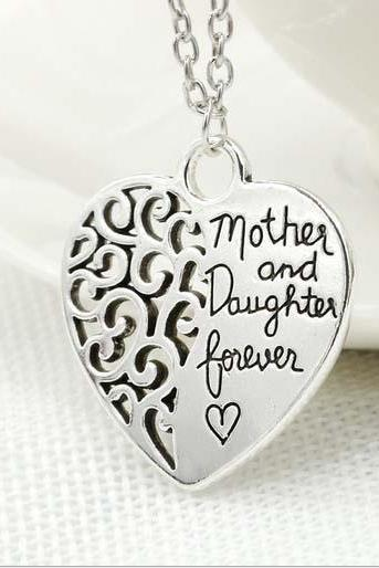 Mother and Daughter Forever Heart Shaped Pendant Necklace Jewelry Gift