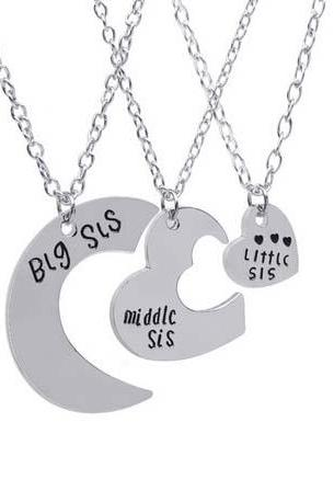 3 pcs'Big sis middle sis little sis'Pendant Heart Shaped Necklaces