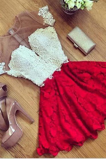 Red Lace zipper stitching Sexy Dress