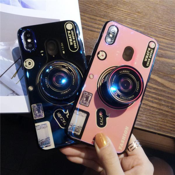 New Fashion 3D Camera Design Blue Ray Soft Case Cover for iPhone 6 6s 7 8 Plus X XS XR XS MAX