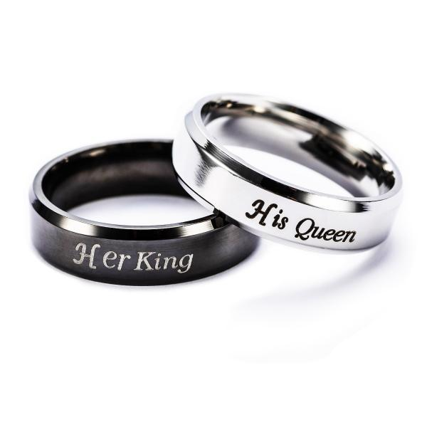 Fashion Stainless Steel Her King His Queen Couple Jewelry Anniversary Valentine's Day Gifts