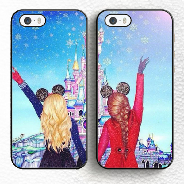 2pcs/set Girls Fashion Best Friends Couple Phone Cases for iPhone XS MAX XR XS X 8 7 6 6s Plus & Samsung Galaxy S8 S9 S10e S10 Plus case