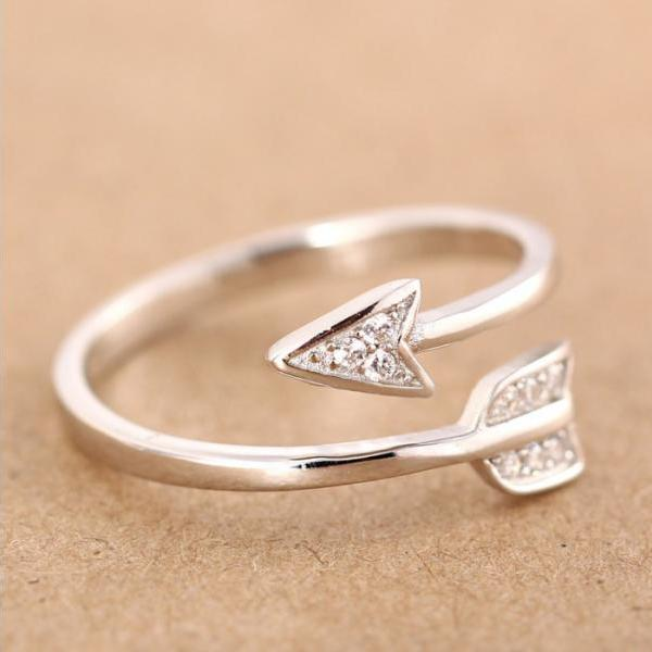 New Fashion Silver Plated Arrow Crystal Rings for Women Girls Adjustable Engagement Ring
