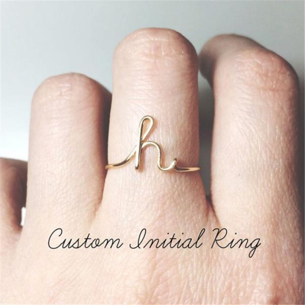 Gold Silver A-Z 26 Letters Initial Name Rings for Women Men