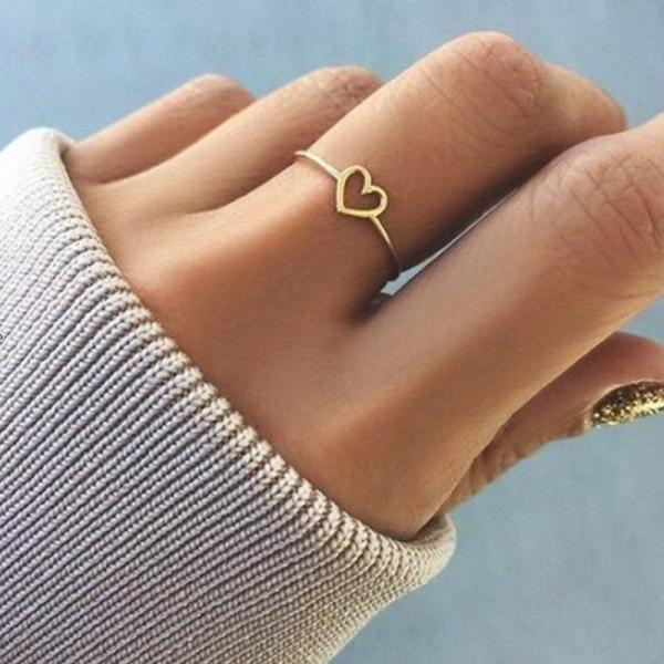 New Fashion Silver / Rose Gold Heart Shaped Ring for Women Girls