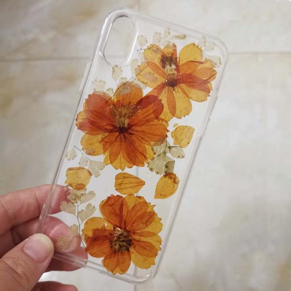 Real Dry Flower Clear Phone Case for iPhone XR