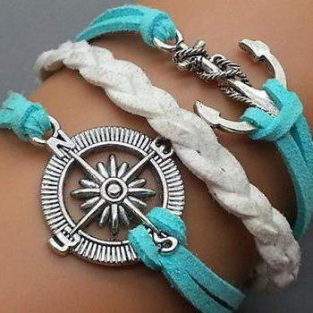 Anchor and Compass Charm Bracelet-Silver-Light Blue & White Leather--Friendship Gift-Adjustable Weave Bangle Personalized Jewelry