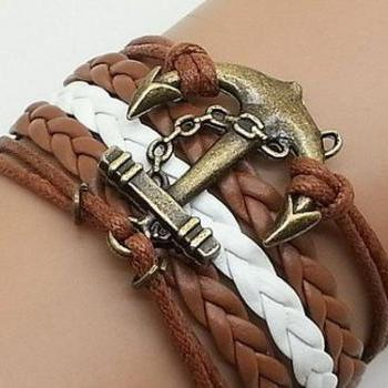 Antique Bronze Anchor Bracelet Charm Bracelet Combination BraceletBrown Wax Cords Brown White Leather Bracelet Cute Personalized Bracelet