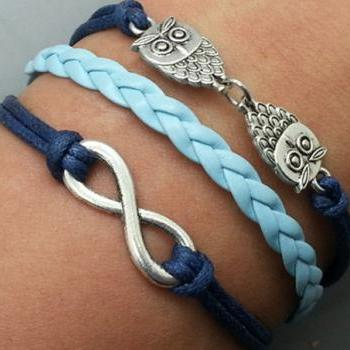 Infinity & Owls Bracelet Charm Bracelet Silver Bracelet Navy blue Korean Wax Cords Shallow blue Leather Charm Bracelet Personalized Bracelet