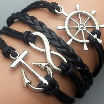 Infinity helmsman & Anchor Bracelet Charm Bracelet Silver Bracelet Black Korean Wax Cords Black Leather Charm Bracelet Personalized Bracelet
