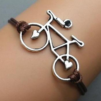 2pc Silver bike Bracelet Wax Cord Bracelet Charm Bracelet Wristband Bracelet Adjustable Weave Bangle Personalized Bracelet