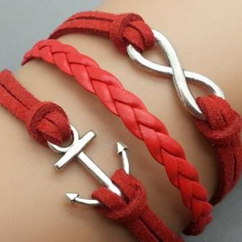 Infinity & Anchor Bracelet Charm Bracelet Silver Bracelet Red Korean Wax Cords Leather Charm Bracelet Personalized Bracelet