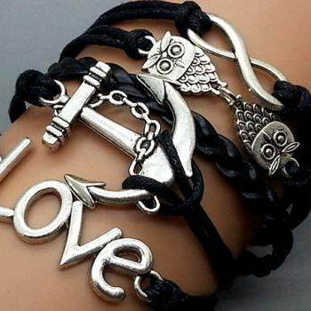 Infinity, Love,owls & Anchor Bracelet Charm Bracelet Silver Bracelet Black Wax Leather Charm Bracelet Personalized Bracelet