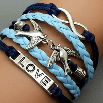 Infinity love & Love Bird Bracelet Charm Bracelet Silver Bracelet Navy blue Wax Cords light blue Leather Charm Bracelet Personalized Bracelet