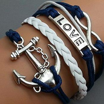 Infinity love & Anchor Bracelet Charm Bracelet Silver Bracelet Navy blue Korean Wax Cords White Leather Charm Bracelet Personalized Bracelet