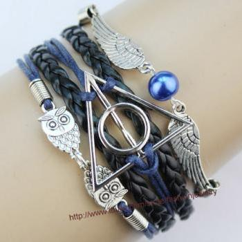 Harry Potter Deathly Hallow Bracelet, Harry Potter Snitch Bracelet, Owl Wing Bracelet,Sapphire blue Bead Bracelet,Purple Wax Cords Leather Charm Bracelet Gift For Girl Friend,Boy Friend
