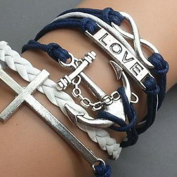 Infinity love Cross & Anchor Bracelet Charm Bracelet Silver Bracelet Navy blue Korean Wax Cords White Leather Charm Bracelet Personalized Bracelet