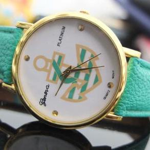 Women's Anchor Leather Strap Watch,Fashion Analog Display Quartz Watch