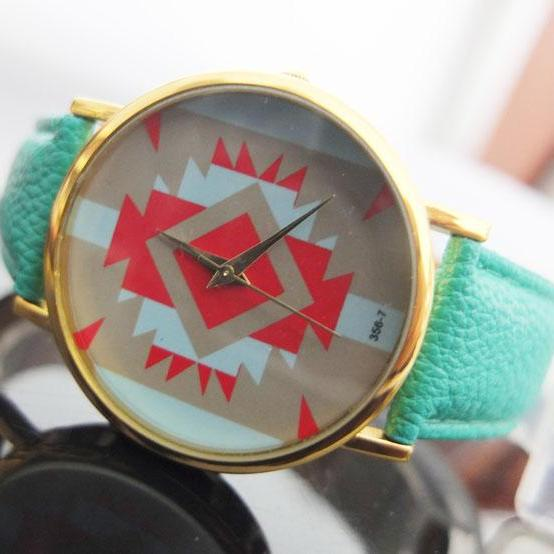 Mint Leather Watch-Fashion Geneva Platinum Tribe Print Women Men Analog Quartz Wrist Watch