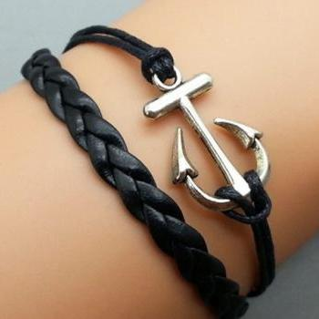 Anchor Bracelet Silver Bracelet Black Korean Wax Cords Leather Charm Bracelet Personalized Bracelet