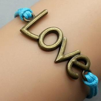 2pcs Love Bracelet Blue Wax Cord Bracelet Bronze Cham Bracelet Wristband Bracelet Adjustable Weave Bangle Personalized Bracelet