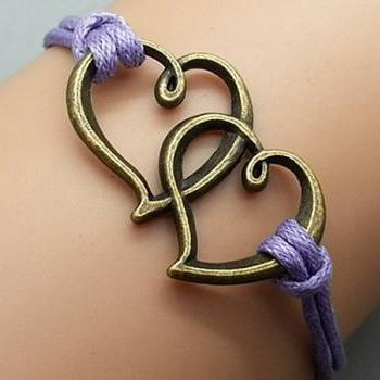 2pcs Love Bracelet Purple Wax Cord Bracelet Bronze Cham Bracelet Wristband Bracelet Adjustable Weave Bangle Personalized Bracelet