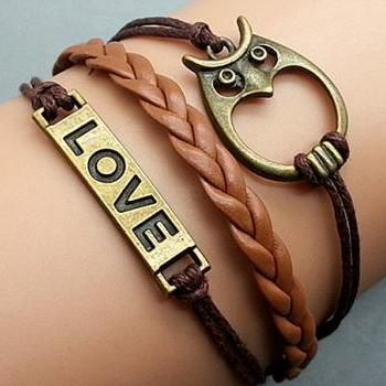 Love Bracelet Owl Bracelet Brown Wax Cord Leather Bracelet Cham Bracelet Wristband Bracelet Adjustable Weave Bangle Personalized Bracelet