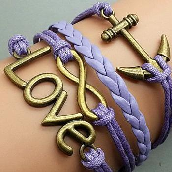 Cross Love & Anchor Bracelet Bronze Bracelet Light purple Wax Leather Charm Bracelet Personalized Bracelet