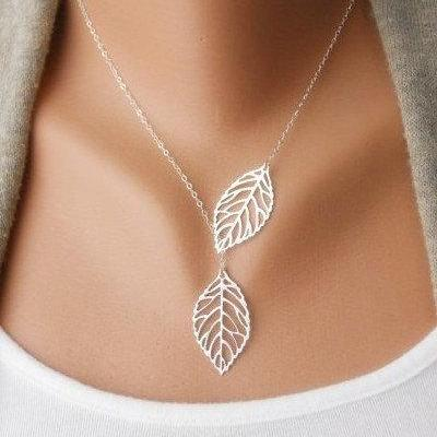 Branch necklace, silver branch necklace, branch charm necklace