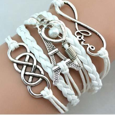 Multi-layer Infinity Love Heart Tower Friendship Antique Silver Leather Charm Bracelet